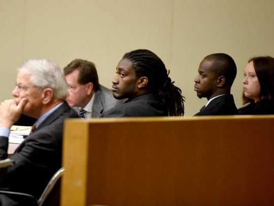 From left, defense attorneys Tom Dillard and David Eldridge, defendants A.J. Johnson and Michael Williams, and attorney Loretta Cravens listen during a motions hearing Tuesday, Nov. 3, 2015.