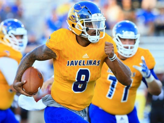 GABE HERNANDEZ/CALLER-TIMES Quarterback Myles Carr and the Javelinas dropped another close game to a top tier Lone Star Conference team on Saturday, losing 38-36 to Texas A&M-Commerce. A&M-Kingsville will face Angelo State on Saturday at Javelina Stadium.