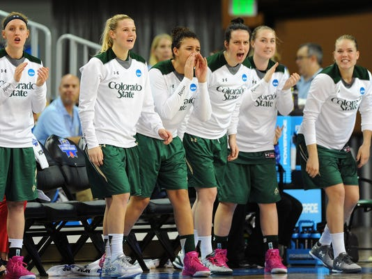 The Colorado State bench celebrates as they get a big lead in the first period against South Florida during a first-round women's college basketball game in the NCAA Tournament in Los Angeles, Saturday, March 19, 2016. (AP Photo/Michael Owen Baker)
