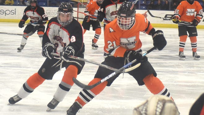 Brighton's Tim Erkkila (8) tries to check Northville's Nick Bonofiglio in front of the Bulldogs' net.