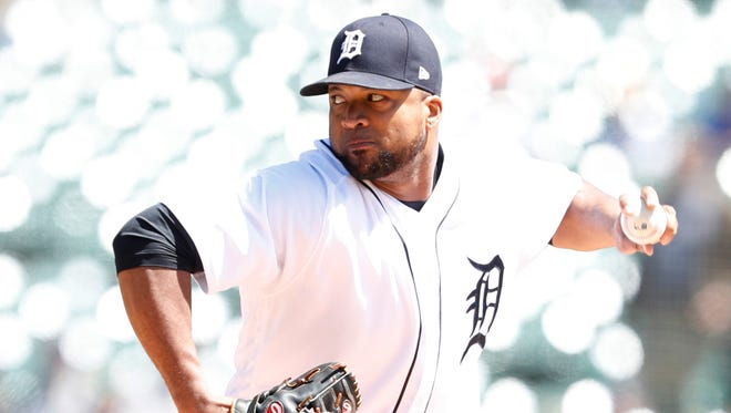 Tigers pitcher Francisco Liriano (38) throws the ball during the first inning on Sunday, April 22, 2018, at Comerica Park.