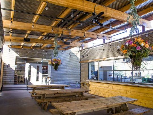 The main patio area at Ocotillo has a beer garden vibe