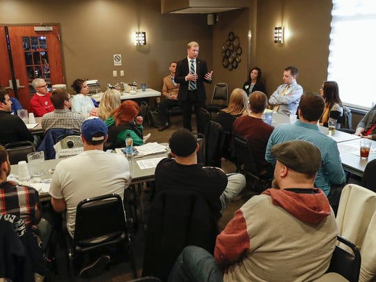 Incumbent Justin Nickels addresses members of the Young Professionals of Manitowoc County, who hosted the final mayoral forum before the election Tuesday, March 21.