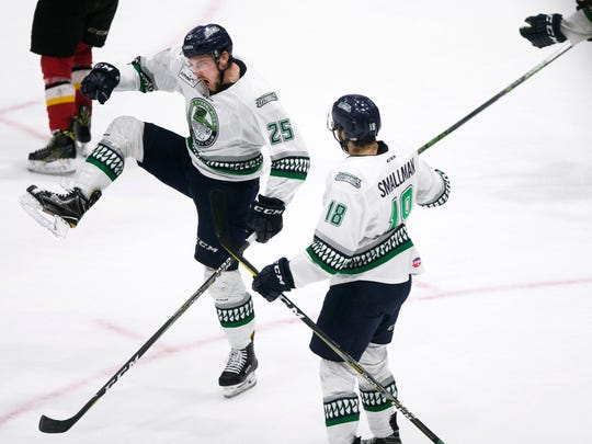 Florida Everblades forward, John McCarron, celebrates after scoring the first game for the Everblades during game one of the Eastern Conference Finals on Friday, May 11, 2018 at Germain Arena.