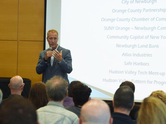 Rep. Sean Patrick Maloney speaks at the Hudson Valley Tech Meetup at Orange County Community College in Newburgh.