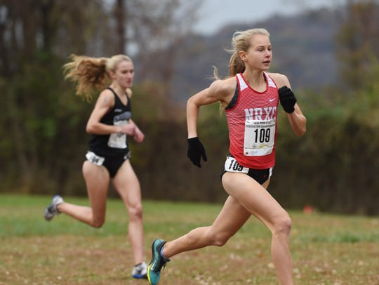 North Rockland's Katelyn Tuohy, right, leads the pack