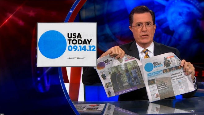 "Colbert discusses his favorite newspaper, ""the USA TODAY."""