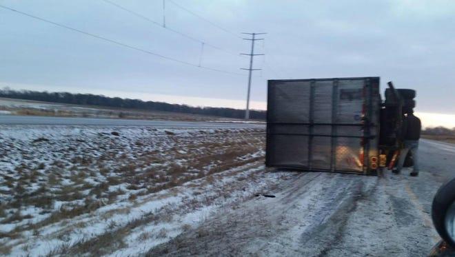 This semitrailer overturned near Alexandria on Interstate Highway 94 near Alexandria on Saturday morning.