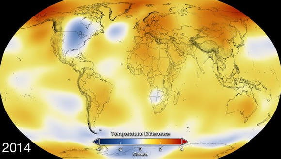 This map from NASA shows deviation from normal temperatures