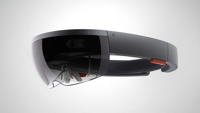 Handout image released by Microsoft showing the new Microsoft HoloLens.