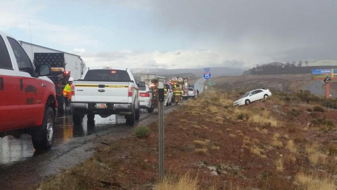 Police and fire crews respond to a head-on collision Tuesday, March 3 on northbound Interstate 15 near mile marker 16.