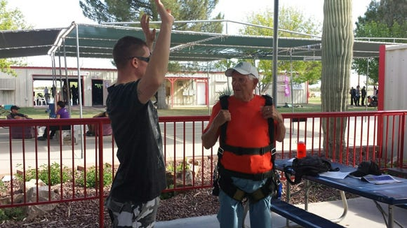 Mel Potter getting ready to skydive for his 90th birthday.