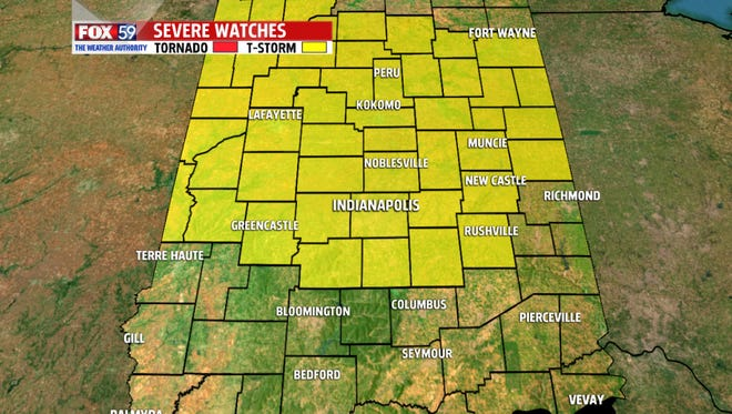 These are the Indiana counties initially were covered by a severe thunderstorm watch until 1 a.m. Monday. The watch expired for some counties about 11 p.m., but continued for Indianapolis and its surrounding counties.