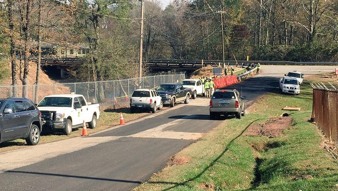 Greer CPW crews investigate a water main break near the treatment plant on Lake Cunningham.