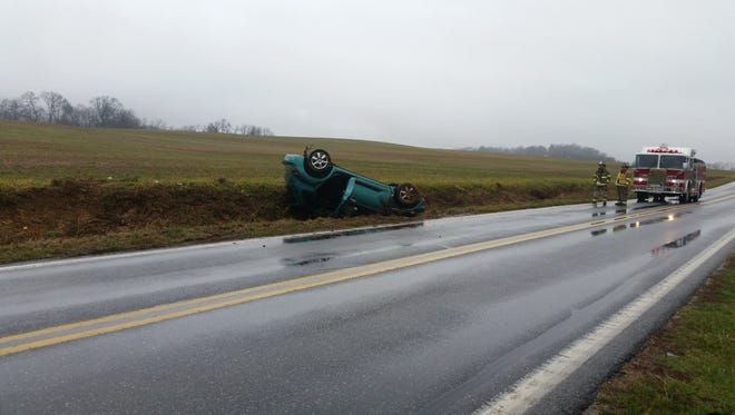 Emergency crews responded to a vehicle crash on Moulstown Road in Heidelberg Township Thursday afternoon.