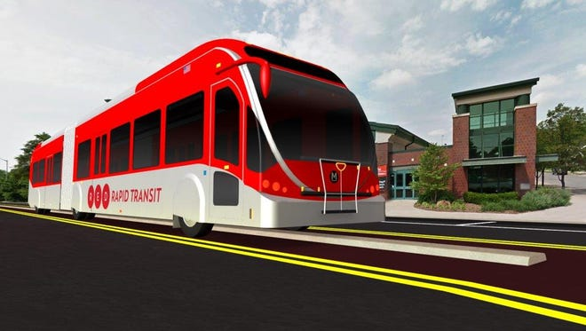 A rendering of a bus on College Avenue on the prosed Red Line bus rapid transit system