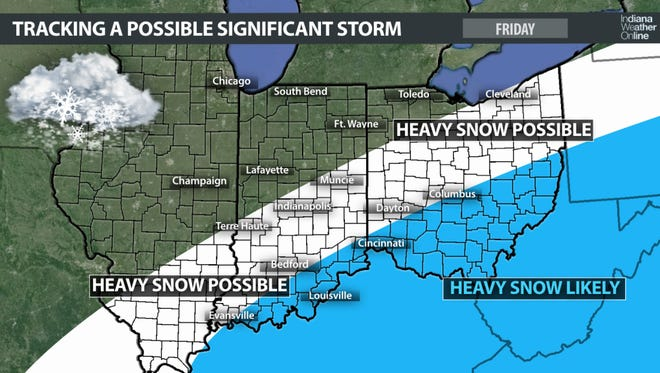 Snow possibilities for Friday, according to Indiana Weather Online
