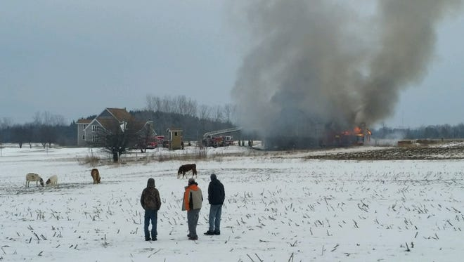 Neighbors keep an eye over rescued animals as a barn burns in the town of Ahnapee on Monday.