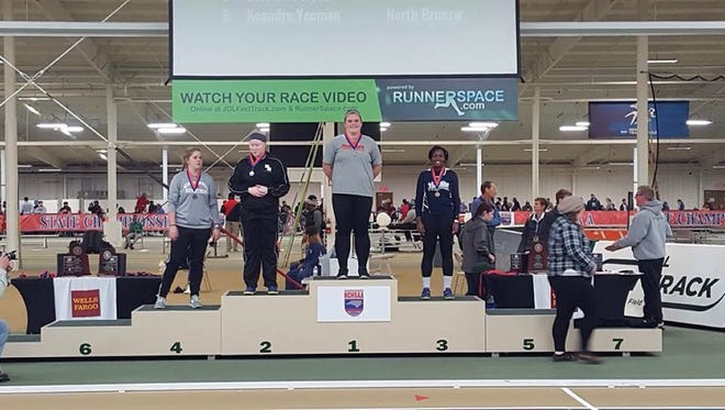 Franklin junior LesLeigh Tabor won the girls shot put at Saturday's NCHSAA 1-A/2-A indoor track meet in Winston-Salem.