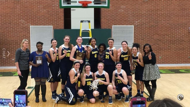 The St. Clair County Community College women's basketball team poses after winning the district tournament. SC4 advances to the National Tournament.