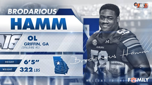 Auburn 2016 signee Brodarious Hamm has been diagnosed with Hodgkin's lymphoma.