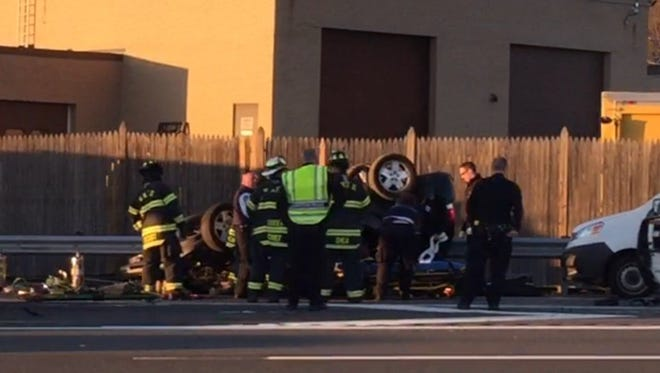This photo was taken of a multi-car accident that happened around 7 p.m. in the northbound lanes near Exit 12 on Interstate 87 in Rockland County.