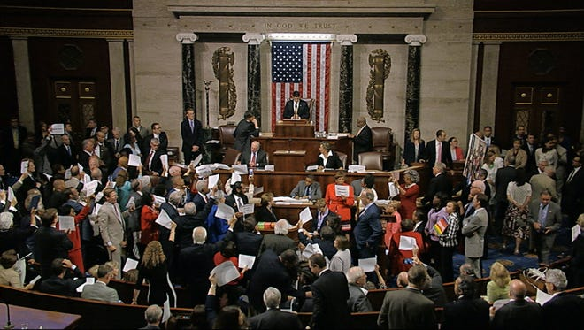 Democrats staged a sit-in on Wednesday in the House of Representatives.