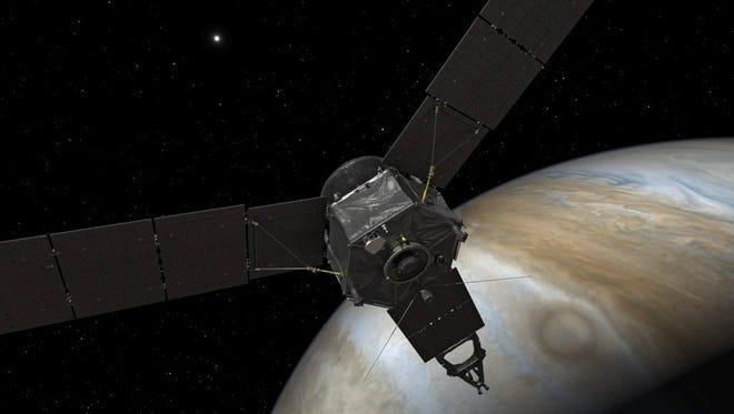 A rendering of NASA's Juno spacecraft at Jupiter.