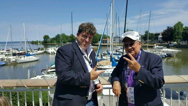 GOP delegates Matt Jansen, of North Codorus Township, and Joe Sacco, of Shrewsbury, outside the Cleveland Yacht Club.
