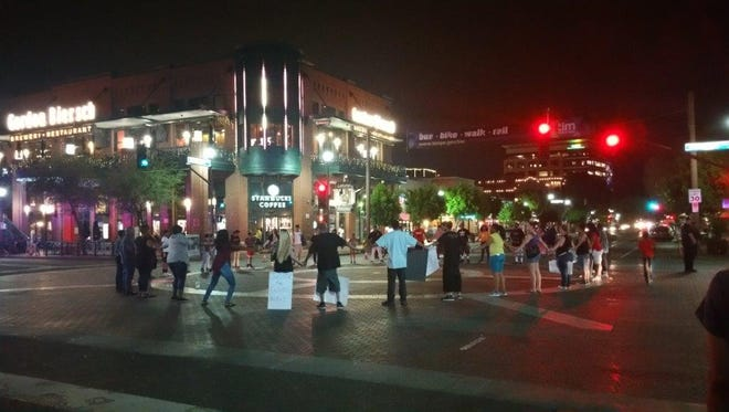 Protesters in downtown Tempe