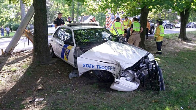 Sgt. 1st Class Gregory Williams says the trooper had been driving on state Route 49 in Millville Wednesday afternoon when his car ran off the road and struck a tree.