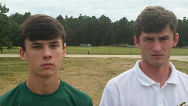 Brennan and Brian Barbr Jr. recently following practice at Calvary. The teenagers recently complete the LDWF's hunter education course.