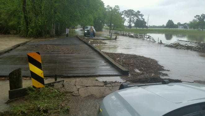 The bridge at Riverside Road and St. Jules in western Acadia Parish was washed out Thursday morning following severe weather.