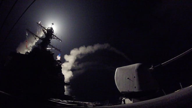Guided-missile destroyer USS Porter launches missile strike against al-Shayrat military airfield near Homs, Syria, April 7, 2017.