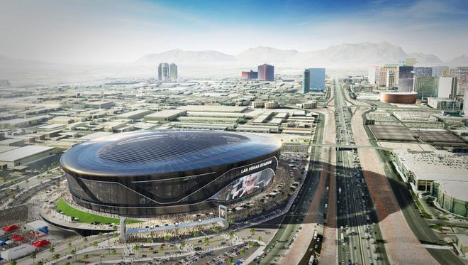 A rendering of the proposed Raiders stadium to be built in Las Vegas.