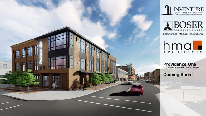 Concept art shows the planned Providence One office building in downtown, to be located at 24 Eighth Ave. S.