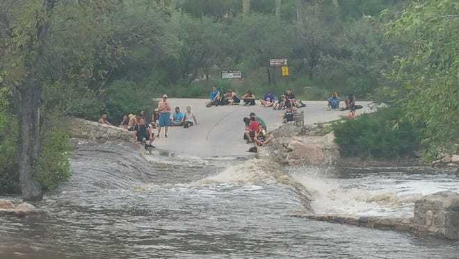 Rescue efforts were underway the evening of July 30, 2017, in Sabino Canyon Recreation Park, where a flash flood stranded 26 people.