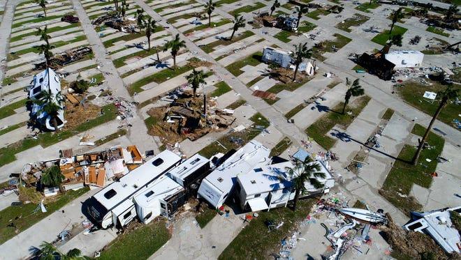 Aerial view of Hurricane Harvey damage in Port Aransas, Texas.