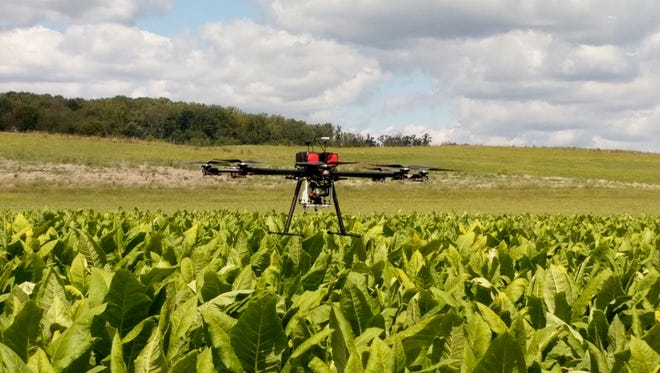 A GeoAir drone flies over a tobacco field in Greeneville, Tenn. The drone can detect mold spores in the air before they damage crops.