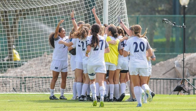 The Monmouth women's soccer team celebrates after winning the MAAC Championship last week, earning a spot in this week's NCAA Tournament.