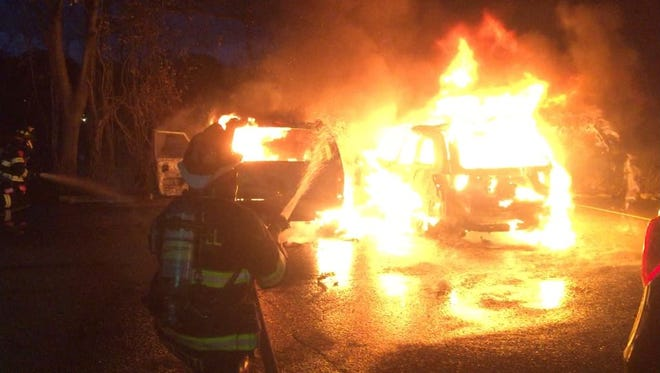 Firefighters respond to a car fire in Oradell Nov. 22, 2017.