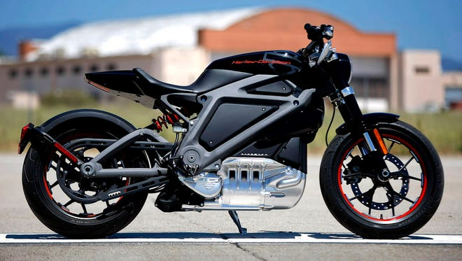 Harley Davidson unveiled its Livewire in June 2014 at the former Marine Corps Air Station El Toro in Irvine, Calif. (Don Bartletti/Los Angeles Times/TNS) ORG XMIT: 1222720