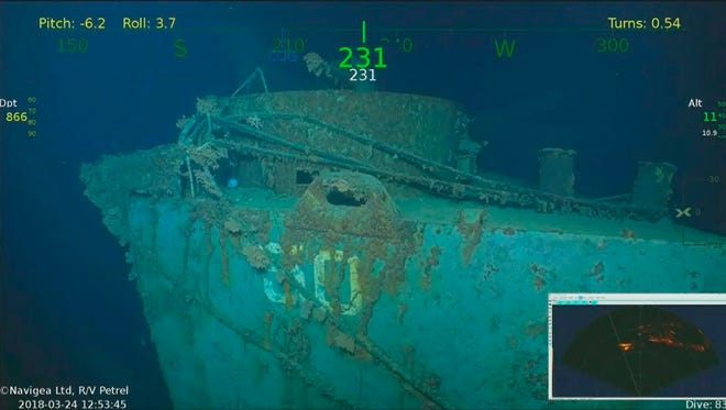 This March 24, 2018 photo provided by Paul G. Allen shows the starboard stern quarter of the light cruiser USS Helena. Nearly 75 years after the USS Helena was sunk by Japanese torpedoes in the waters off the Solomon Islands in the South Pacific, an expedition backed by Microsoft co-founder Paul Allen reported finding its wreckage. The March 23, 2018 discovery revives stories of the battle-tested ship's endurance and the nearly unbelievable survival story of 165 of the crewmen. In all, 732 of the 900 crew survived its July 5, 1943 sinking. (Paul G. Allen via AP)