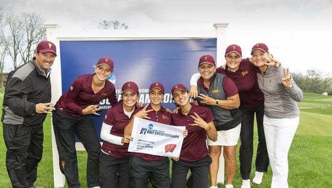 ASU golf head coach Missy Farr-Kaye celebrates with her team in Madison after advancing to the NCAA Championships.