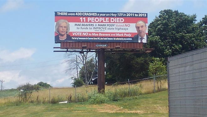 This billboard was put up by a new political action committee on State Route 109 in Wilson County.