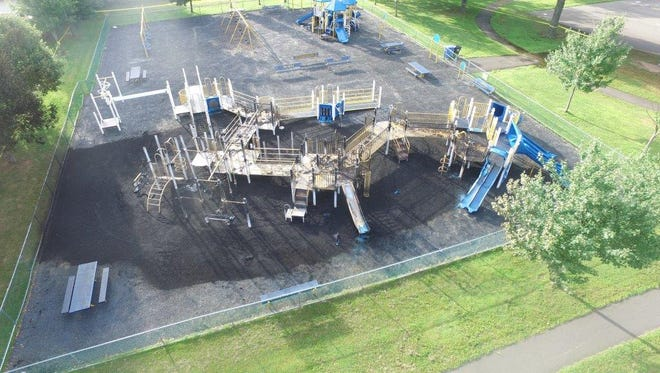 Aerial view of the damage at the Matthew Jago School playground that was damaged by fire on Wednesday.