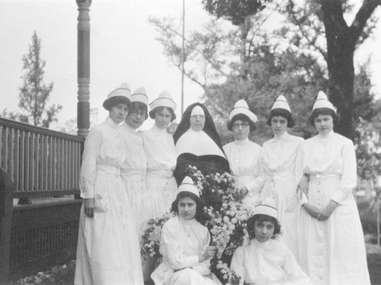 A graduating class of the Fanny Allen Nursing School, circa 1920s.