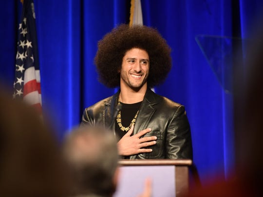 Honoree Colin Kaepernick speaks onstage at ACLU SoCal
