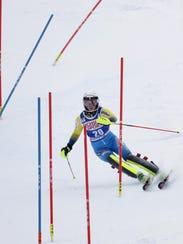 Emelie Wikstroem of Sweden takes her second run in the women's FIS Alpine Skiing World Cup slalom race, Sunday, Nov. 27, 2016, in Killington, Vt.