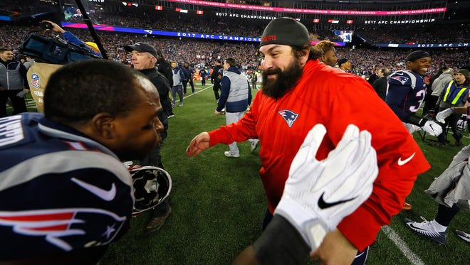 Matt Patricia celebrates with special-teams ace Matthew Slater after winning the AFC Championship against the Jaguars at Gillette Stadium on Jan. 21.